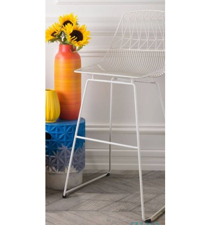 Bar Stool in Industrial Wire Metal (2 Pcs)