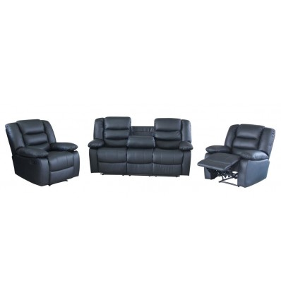 Brighton Full Motion Recliner Lounge Suite with Dropdown Tea Tray in Leather