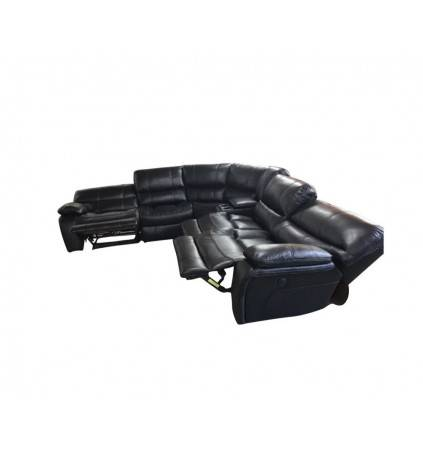 Jessie Corner Modular with Electric Recliners both ends with Consoles covered in Leather Gel