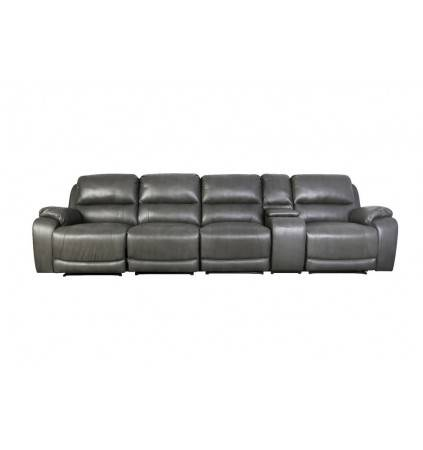 Alvis Home Theatre Sofa 4 Recliners with Console Table – Leather Aire